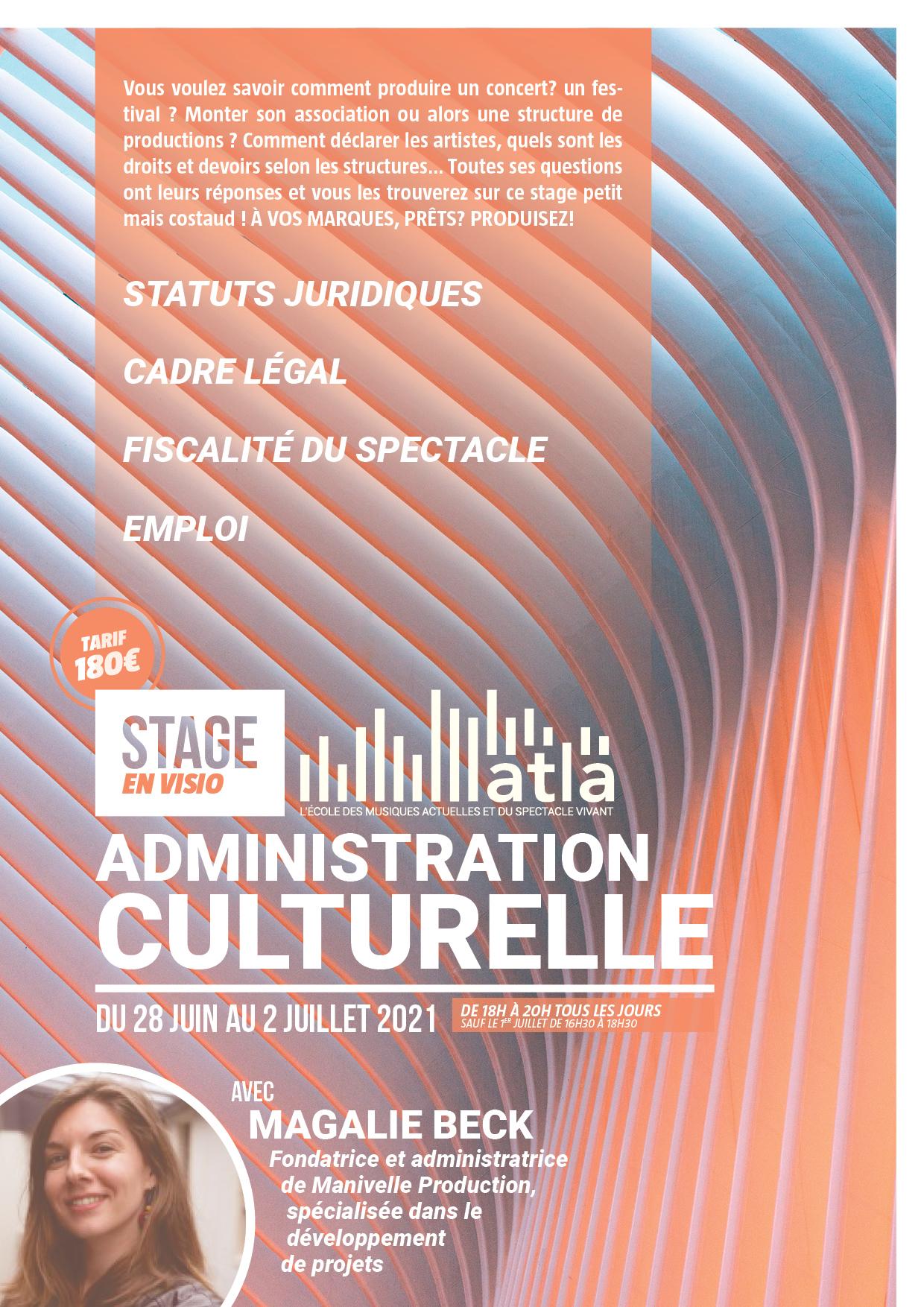 Stage Administration Culturelle ATLA